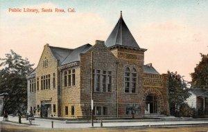 Public Library, Santa Rosa, California ca 1910s Vintage Postcard
