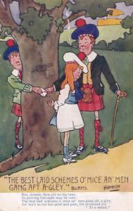 Of Mice & Men Robert Burns Scottish Poet Comic Old Postcard
