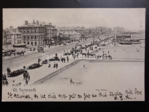 Norfolk THE DRIVE Great Yarmouth c1902 UB by Peacock (PM) BECCLES DUPLEX 59