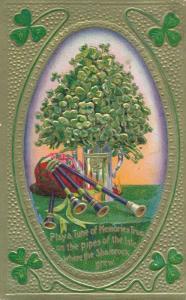 St Patricks Day Greetings - Bag Pipes and Shamrocks - pm 1910 - DB