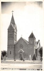 A55/ Arcadia Wisconsin Wi Postcard Real Photo RPPC St Aloysius Church 1947