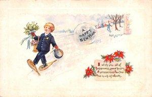 A Happy New Year Wish Snowshoing Scene Unused