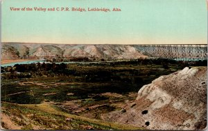 Lethbridge Alberta Canada Valley and CPR Bridge Postcard used 1900s/10s