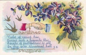 HANDS, 1900-10s; Violet Flowers, Rhyme, Gold Birds
