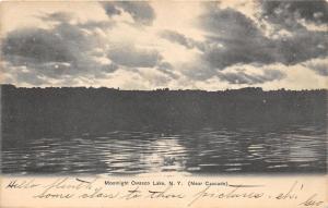 Owsco Lake New York @ Night~Moonlight thru Clouds~near Melrose Park~'09 Postcard