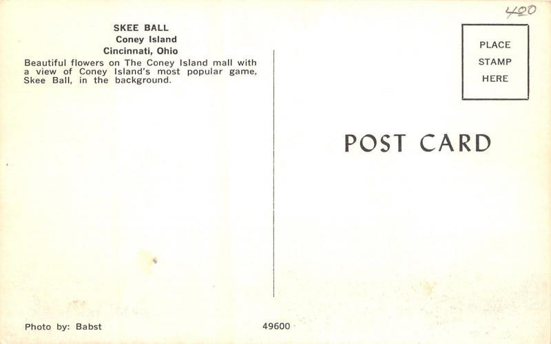 Cincinnati OH Coney Island Amusement Park~Skee Ball~Flower Beds~Shaped Trees 60s