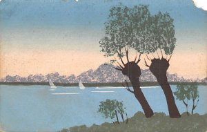 Lake scene with trees Handmade Postal Used Unknown