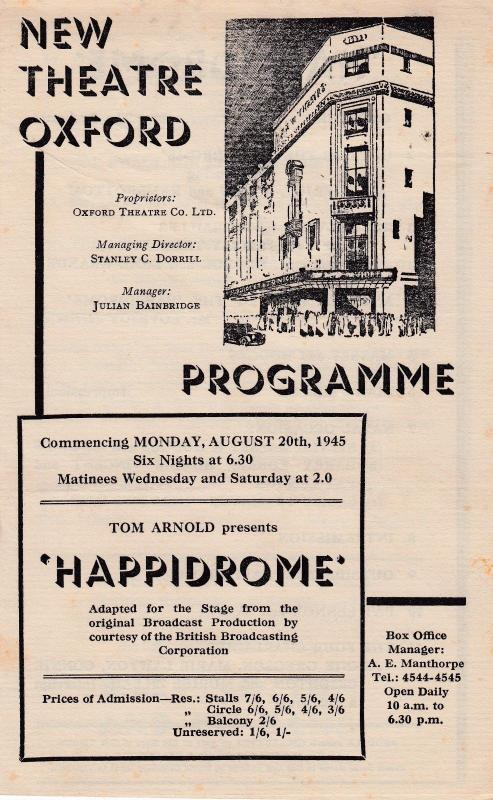 The Happidrome Hal Swain & His Swing Band Musical Oxford Theatre Programme