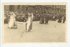 RP LIEGE, Belgium 1910-20s two women in angel costumes carry sign in parade
