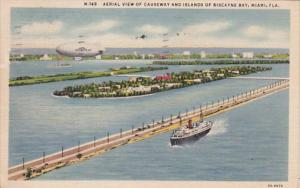 Florida Miami Aerial View Of Causeway and Islands Of Biscayne Bay With Goodye...