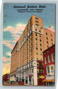 Clarksburg WV, Stonewall Jackson Hotel, Billiards, Linen West Virginia Postcard