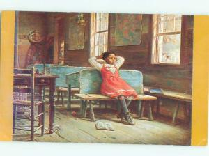 Pre-1980 Black Americana GIRL SITTING ON BENCH - PAINTING ON POSTCARD AC0693
