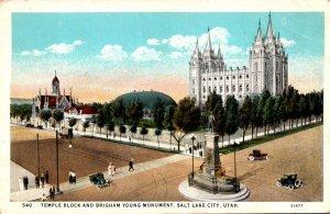 Utah Salt Lake City Temple Block and Brigham Young Monument Curteich