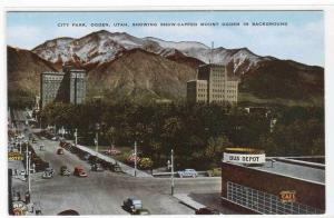 City Park Panorama Ogden Utah 1950c postcard
