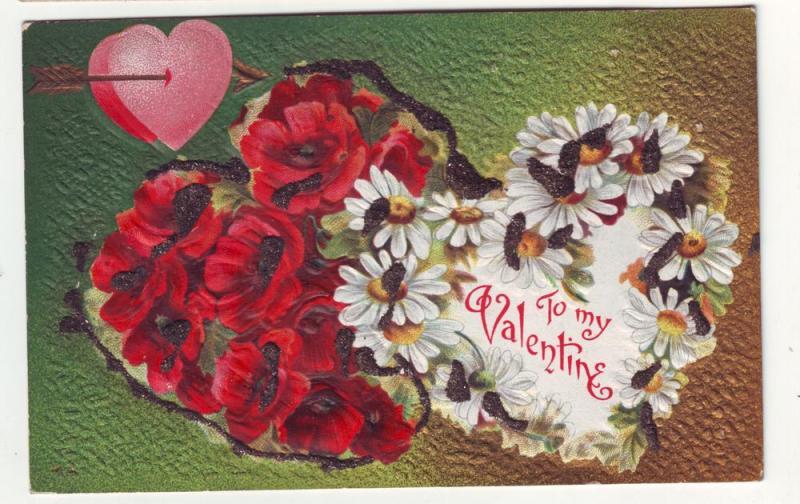 P151 JL 1907-15 postcard valentines embossed glitter flowers