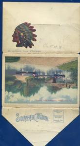 Greater Chicago il ILLinois Lake Shore Dr Lincoln Garfield Park postcard folder