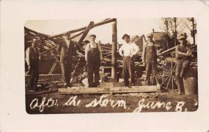 TYLER MINNESOTA AFTER THE STORM~MEN REPAIR DAMAGED BUILDING~REAL PHOTO POSTCARD