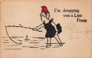 LAPAZ INDIANA POSTMARK~GIRL FISHING~I'M DROPPING YOU A LINE FROM~POSTCARD 1907