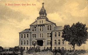 Great Bend Kansas~St Mary's Roman Catholic Convent~1908 SL&Co Langsdorf Postcard