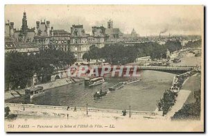 Old Postcard Paris Panorama of the Seine and the City Hall
