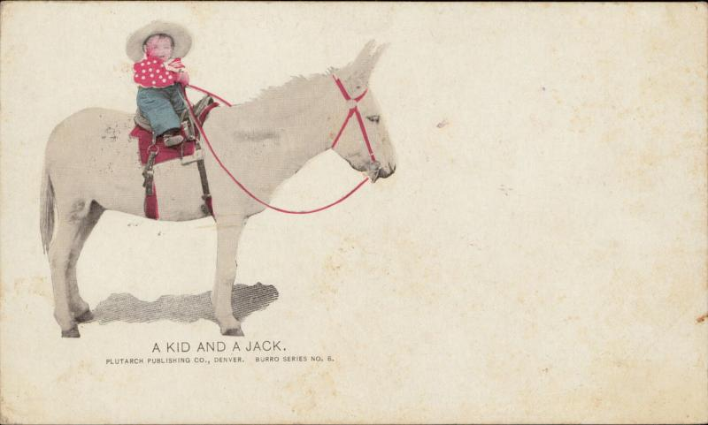 A kid and a Jack donkey child riding Plutarch publishing Burro series