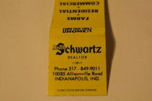 Bruce Schwartz Realtor Indianapolis Indiana 20 Strike Matchbook Cover