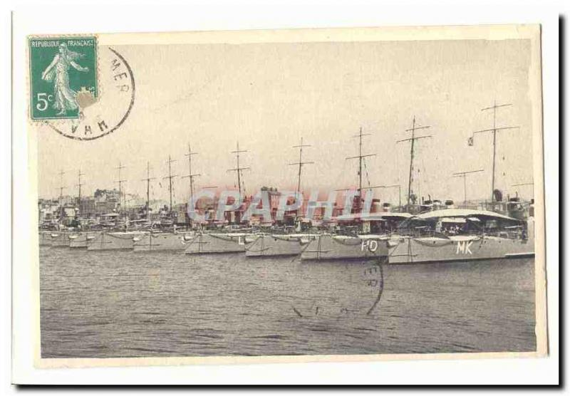 Vintage Postcard overall Toulon overall picture of the destroyers (ship boat bo
