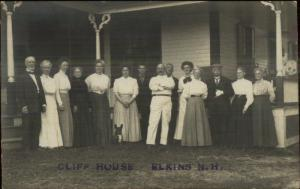 Elkins NH People at the Cliff House c1910 CRISP Real Photo Postcard