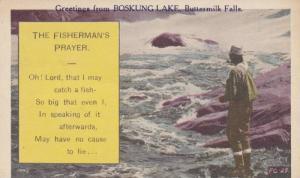 Fishing Comic: The Fisherman's Prayer, Man in Waders Fishing from Rocks, Bosk...
