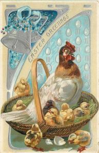 Easter~White Hen Chicks in Grass Fill Wicker Basket~Eggs Drop~Silver Bells~TUCK