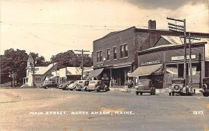North Anson ME Main Street Store Fronts Murray & Co. Store RPPC Postcard