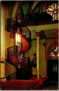Santa Fe, New Mexico Postcard Famous Stairway - Our Lady of Light Chapel 1960s
