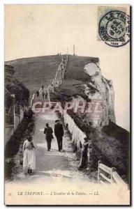 Treport - L & # 39Escalier de la Falaise - Old Postcard