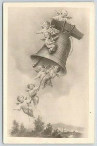 Czech Christmas~Cherub Angels Ride Bell Thru Clouds~Hang on Pull Rope~1955 RPPC