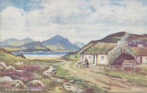 The Blue Hills of Donegal, Ireland, Early Artist Signed Postcard, Unused