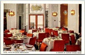 1930s Chicago Postcard Eitel Field Building Restaurant - Marine Dining Room