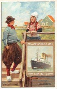 LP40  Ship Vintage Postcard Holland America Line Dutch Costumes