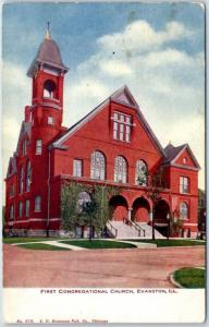 1910s Evanston, Illinois Postcard FIRST CONGREGATIONAL CHURCH Street View