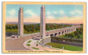 Mid-1900s Soldiers and Sailors Memorial Bridge, Harrisburg, PA Postcard
