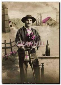 Postcard Old Mine Miner St Barbara Mines