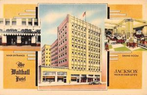 Jackson Mississippi Malthall Hotel Multiview Linen Antique Postcard K13407