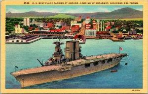 Vtg Linen Postcard U.S. Navy Plane Carrier at Anchor San Diego California CA