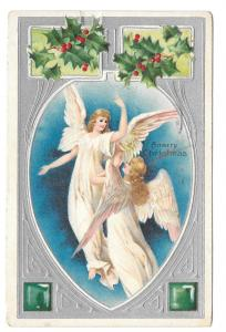 Christmas Angels Holly 1907 Embossed Litho Silver Gilt Printed Germany Postcard