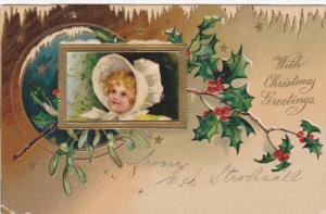 CHRISTMAS; Greetings, Baby wearing bonnet, Holly, Mistletoe, PU-1907