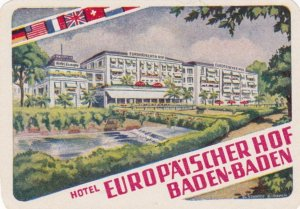 Germany Baden Baden Hotel Europaeischer Hof Vintage Luggage Label sk2187