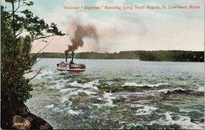 Steamer 'Algerian' Running Long Sault Rapids St. Lawrence River Postcard E69