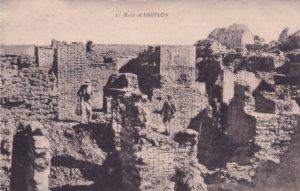 Tourists Explorers At The Ruins Of Babylon Iraq Antique Postcard