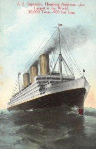 LP42  Ship Vintage Postcard S. S. Imperator Hamburg American Line