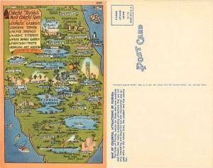 Colorful Florida's Most Colorful Spots, Map Card, FL, Linen