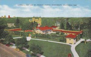 Sutter's Fort & St. Francis Church, Sacramento, California, 1930-1940s